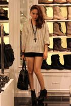 metallic pinkaholic blouse - lita Jeffrey Campbell boots - YSL bag