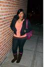Black-delias-jacket-orange-target-top-brown-t-shirt-black-leggings-purpl