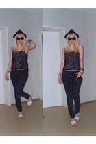 H&M jeans - H&M hat - round H&M sunglasses - lace H&M top
