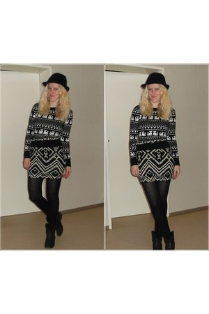 black H&M hat - black Deichmann boots - cat print H&M sweater - H&M skirt
