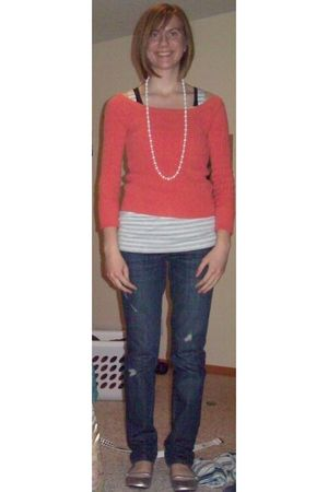 orange thrifted sweater - white LEI top - blue Maurices jeans - black gift top -