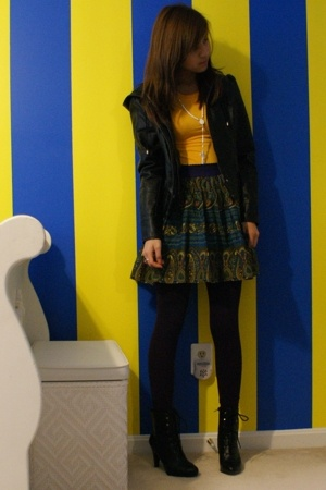 forever 21 jacket - shirt - forever 21 skirt - H&M leggings - payless boots - ne