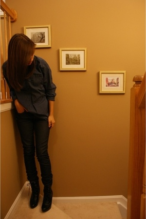 H&M shirt - thrifted necklace - H&M jeans - Payless laced boots