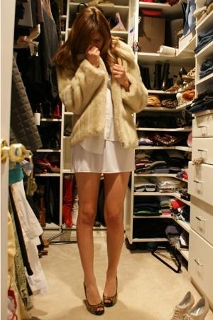 from paris fur jacket - shirt - skirt - Colin Stuart shoes