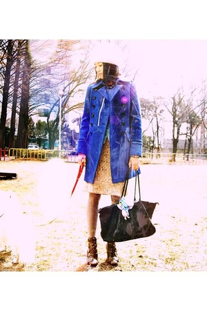 blue venom-like blue MCM coat - sky blue Ralph Lauren sweater