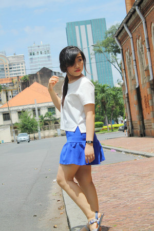 white Marc fashion top - blue custom made skirt