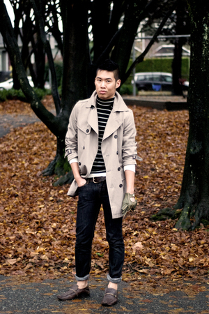 beige H&M jacket - black Club Monaco sweater - gray Moschino jeans - green AK Co