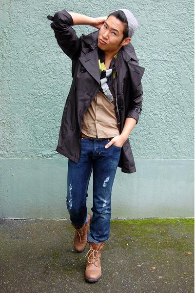 black Burberry coat - blue Diesel jeans - brown Fluevog boots - black Diesel sca