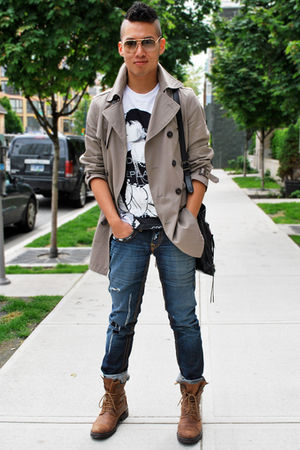 beige H&M coat - blue True Religion jeans - brown Fluevog boots - black balencia