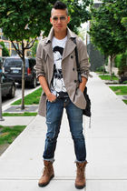 beige H&M coat - blue True Religion jeans - brown Fluevog boots - black balencia