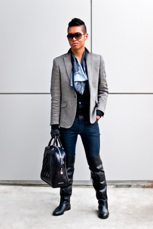 H&M blazer - acne jeans - Browns ID boots - Miu Miu purse - Alexander McQueen sh
