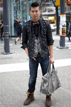 black Zara jacket - gray balenciaga purse - brown Dr Martens boots - blue Ra-Re