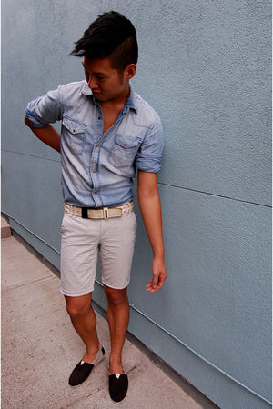 blue H&M shirt - gray Gap shorts - beige diesel black gold belt - black TOMS sho