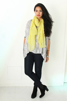 light yellow Forever 21 scarf - black Zara boots - navy Mango jeans