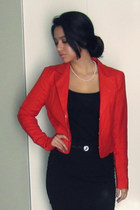 black Forever 21 skirt - red Forever 21 blazer - black H&M top