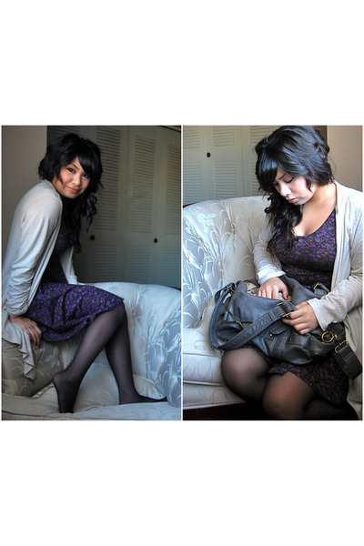 purple Urban Outfitters dress - beige Charlotte-Russe cardigan - black Urban Out