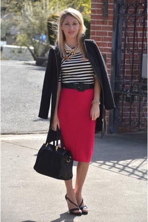 hot pink pencil skirt asos skirt - black Zara jacket