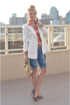 white Zara blazer - sky blue shorts unknown jeans