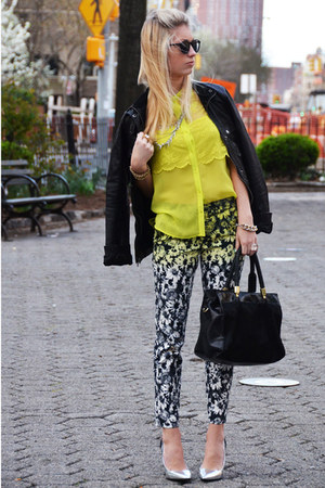 black floral H&M pants - black leather Gap jacket - yellow lace Zara shirt