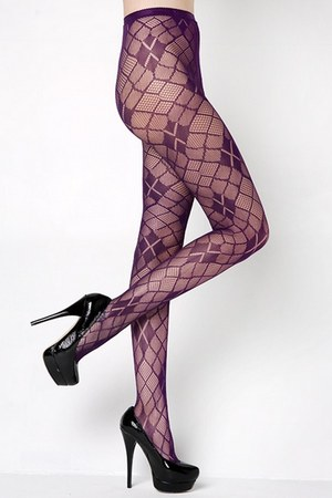 purple fishnets Stella Elyse stockings