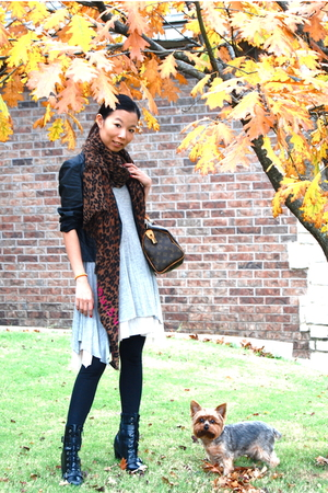 LV scarf - Speedy 25 purse - LaRok dress - American Apparel leggings