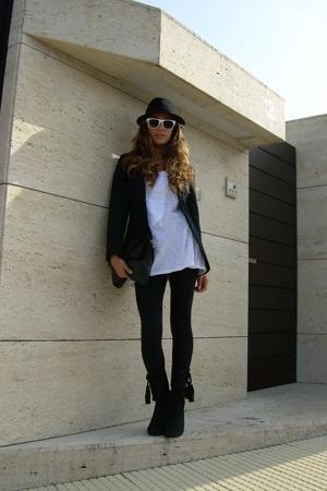 Anon sunglasses - Zara blazer - Zara t-shirt - Zara boots - H&M panties - Mango
