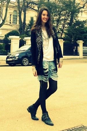 Topshop boots - Topshop jacket - DIY shorts