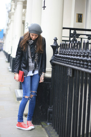 primark diy jeans - Primark jacket - christian dior sweater - Primark bag - conv