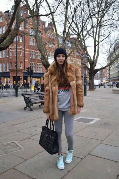 H&M leggings - vintage coat - acne sweater - dior bag - DIY sneakers