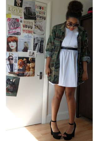 black Steve Madden heels - white asos dress - army green Rokit Vintage jacket