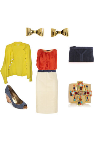 n by Nicole Miller wedges - Betsy Johnson earrings - Kenneth Jay Lane bracelet -