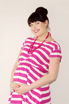 hot pink stripe Gap dress - hot pink statement Forever 21 necklace
