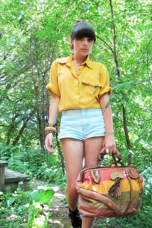thrifted bag - thrifted shorts - mustard thrifted blouse