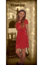 red Forever 21 dress - black bow shoes Charlotte Russe flats