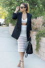 Black-nasty-gal-blazer-white-delacy-skirt-tan-ankle-strap-shoemint-heels