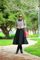 black full midi vintage skirt - black Zara boots