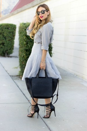 black faux fur black Zara bag - heather gray silk button-up dex clothing shirt