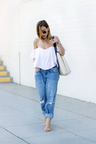 white Lulus top - sky blue boyfriend jeans Billabong jeans