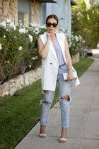 white oversized Lulus vest - sky blue daily look jeans