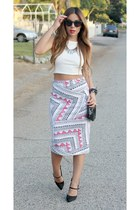 bubble gum daily look skirt - white daily look top