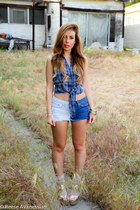 blue Wet Seal top - sky blue YMI Jeans shorts