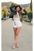 black Nasty Gal hat - black Motel Rocks jacket - white daily look shorts