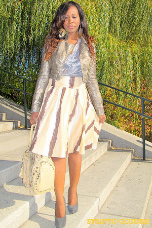 tan Charlotte Russe jacket - beige Galian bag - tan H&M skirt