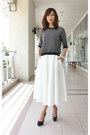 Black-zara-top-white-midi-spring-asos-skirt
