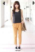 black Mood & Closet top - ivory Mood & Closet shoes - camel random bag