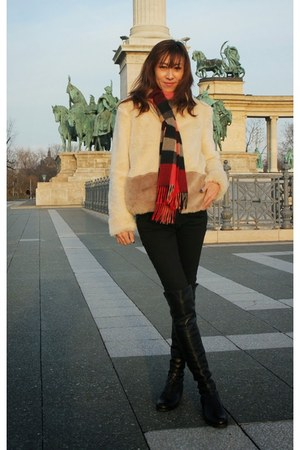 faux fur Zara jacket - stuart weitzman boots - 7 for all mankind jeans