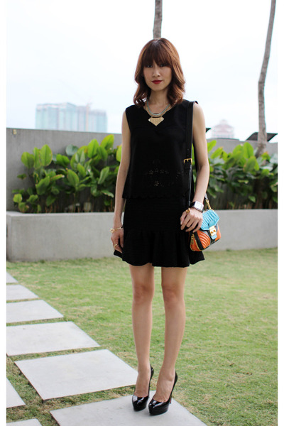 black Mood & Closet top - carrot orange Miu Miu bag - black Mood & Closet skirt