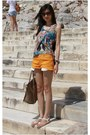 Camel-boston-celine-bag-carrot-orange-denim-shorts-forever-21-shorts