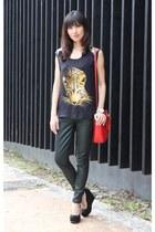black Zara top - forest green 7 for all mankind jeans - red Miu Miu bag