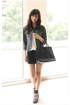 gray Steve Madden sneakers - navy random brand jacket - black Furla bag